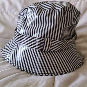 SanDiego Hat Co black white stripe bucket rain hat